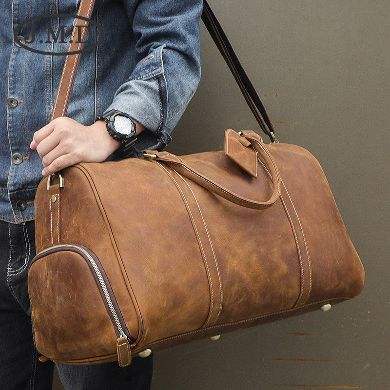 JMD2018 Winter New Style Genuine Leather Casual Gym Bag Horse Leather MEN'S Handbag Shoes Fill-in Travel Bag