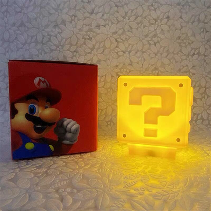 Super Mario LED Night Light Question Mark Sound Rechargeable Cube Game Home Decoration Lamp Boy Kid Gift With Music LED Lampara