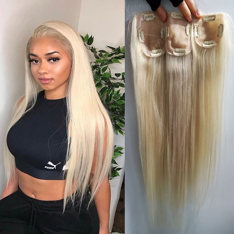 #613 Honey Blonde Human Hair Topper Full Lace With PU Virgin Hair Piece 150% Density Skin Clips In Toupee For Less Hair Women
