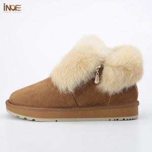 Image 4 - INOE Fashion Cow Suede Leather Real Rabbit Fur Woman Casual Winter Ankle Snow Boots for Women Short Winter Shoes Zipper Style