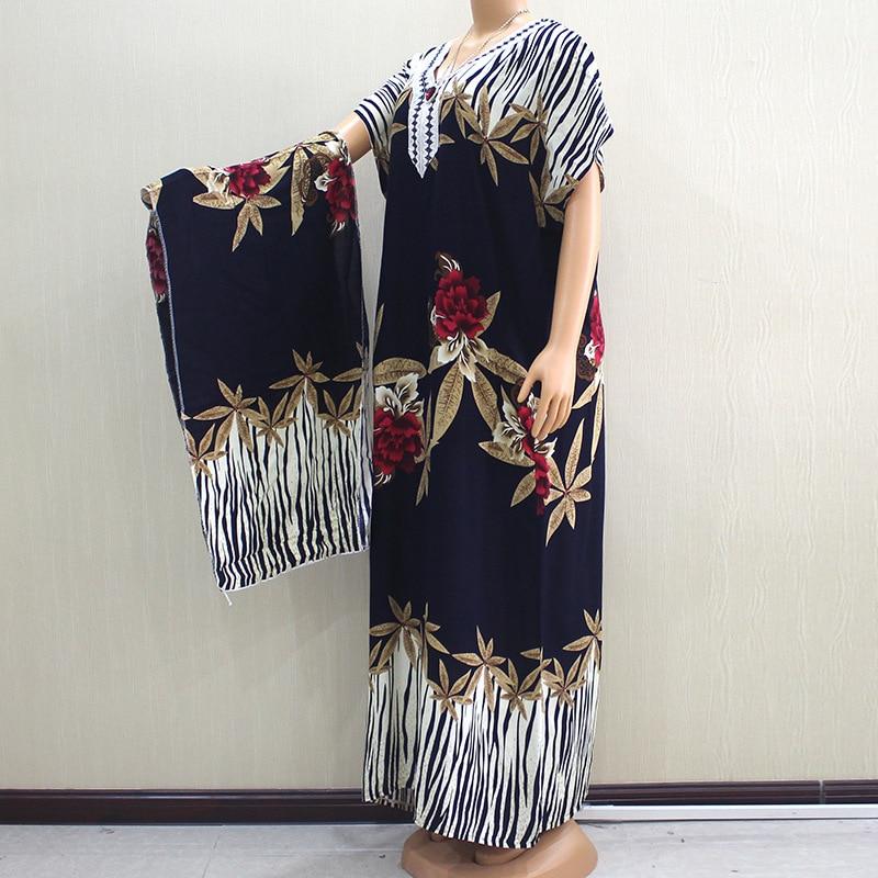 Elegant African Embroidery Dashiki Dress Print Pattern Hijab Cotton Muslim Abaya Bazin Robe Gowns Broder Riche Sexy Lady Party