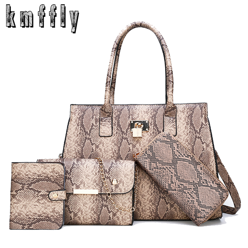 4-piece Set Luxury Handbags Women Bag Designer Fashion Snake Pattern Printing Pu Leather Lady Shoulder Messenger Bags Wallet