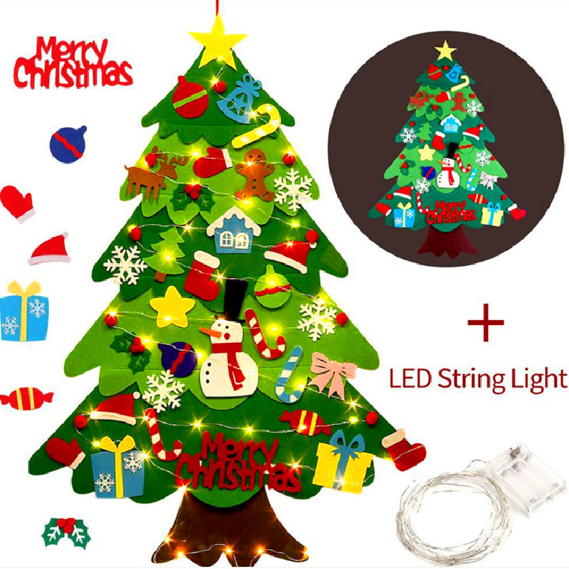 DIY Crafts LED Felt Christmas Tree Toys Door Wall Ornaments Fake Christmas Tree Kids Toy Christmas Party Decoration For Home