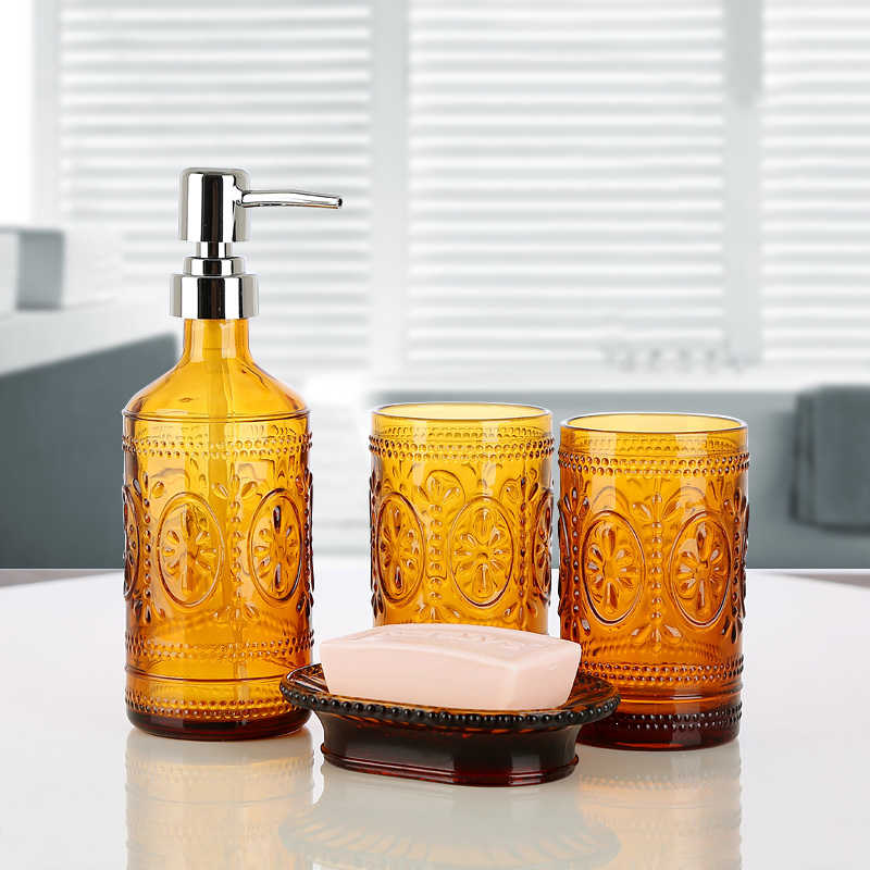 4 Piece Set Bath With Soap Lotion Dispenser Toothbrush Holder Tumbler And Soap Dish Amber Whole Housewares Bathroom Accessories Portable Soap Dispensers Aliexpress