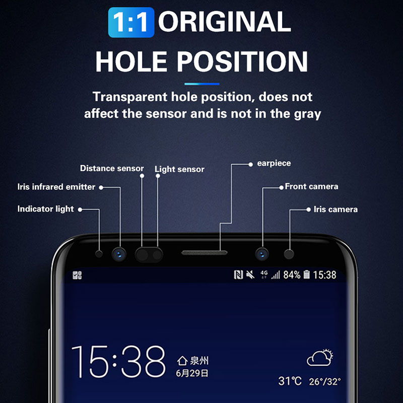 300D Full Curved Tempered Glass For Samsung Galaxy S8 S9 Plus Note 9 8 Screen Protector For Samsung S7 S6Edge S9 Protection film 5