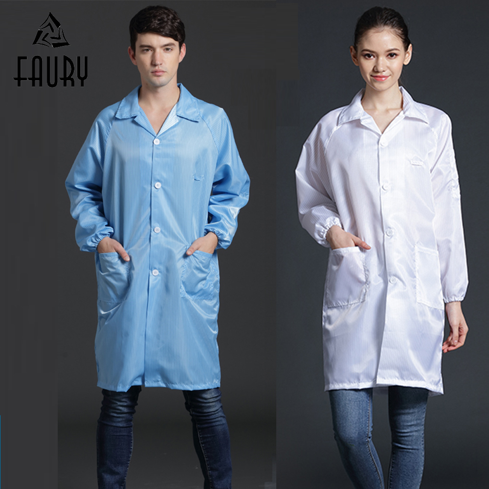 Men Women Long Sleeve Anti-static Work Clothes Dustproof Coat Unisex Protective Safety Clothing Laboratory Workshop Uniform