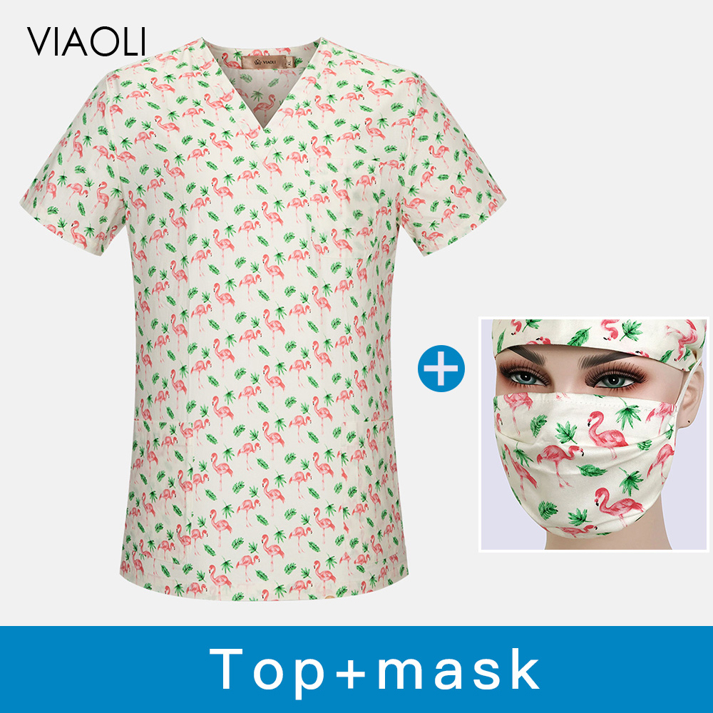 Breathable Dental Clinic Scrubs Tops Flamingo Printing Pet Doctor Work Clothes Hospital Nursing Scrubs Uniforms Medical Workwear