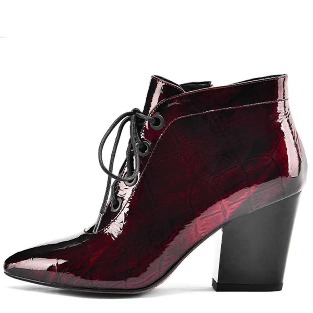 Doratasia 2019 ออกแบบ elegant ฤดูใบไม้ร่วง pointed toe สิทธิบัตรหนังรองเท้าส้นสูงรองเท้าผู้หญิงรองเท้าผู้หญิงข้อเท้ารองเท้าบูทหญิง