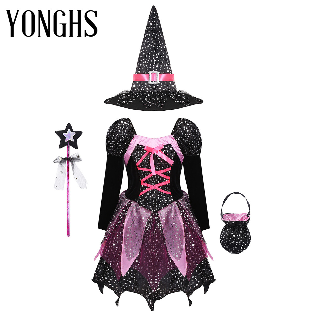 Kids Girls Halloween Witch Cosplay Costume Sparkly Silver Star Printed Dress with Pointed Hat Wand Candy Bag Set Roleplay Outfit