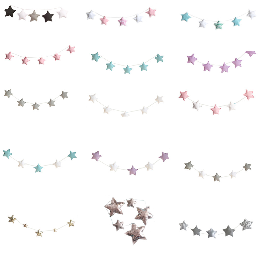5PCS/Set Baby Room Decor Nursery Star Garlands Christmas Kids Room Wall Decorations Photography Props Best Gifts Accessories