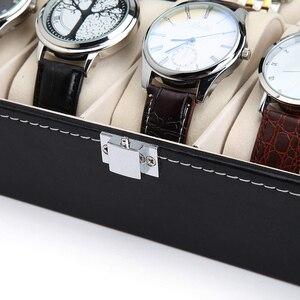 Image 5 - 10 12 Slot Watch Box Storage Watch Box PU Leather Watches Display Case Jewelry Boxes Watches Organizer Glass Top Watch Holder