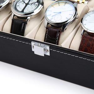 Image 5 - 10 12 חריץ שעון תיבת אחסון תיבת שעון עור מפוצל שעונים תצוגת מקרה תכשיטי קופסות שעונים ארגונית זכוכית למעלה שעון בעל