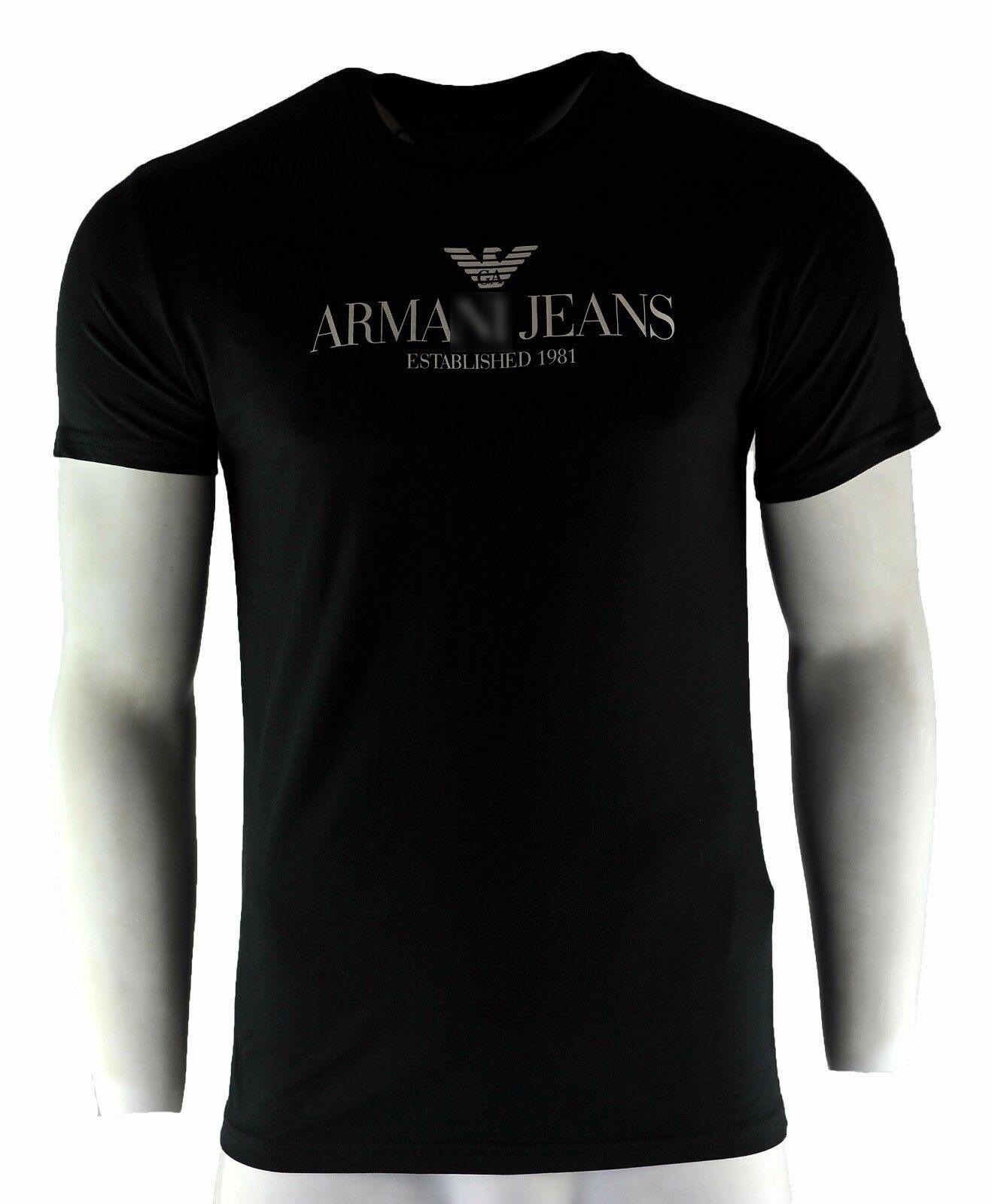 Armany Jeans T-Shirt Black Fashion Crew Neck Size S -3XL Mens Womens Tee Hoodie Free Shipping