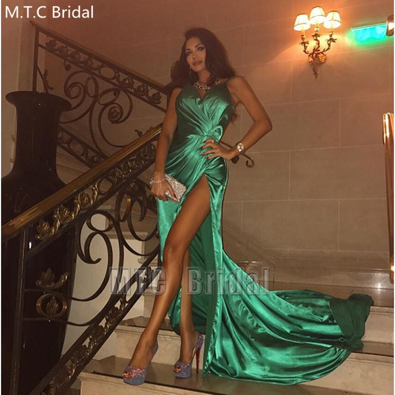 Long Sexy Green Prom Dresses High Slit Shiny Pleat Satin Formal Dress Plus Size Wedding Party Gowns Robe De Soiree Customize