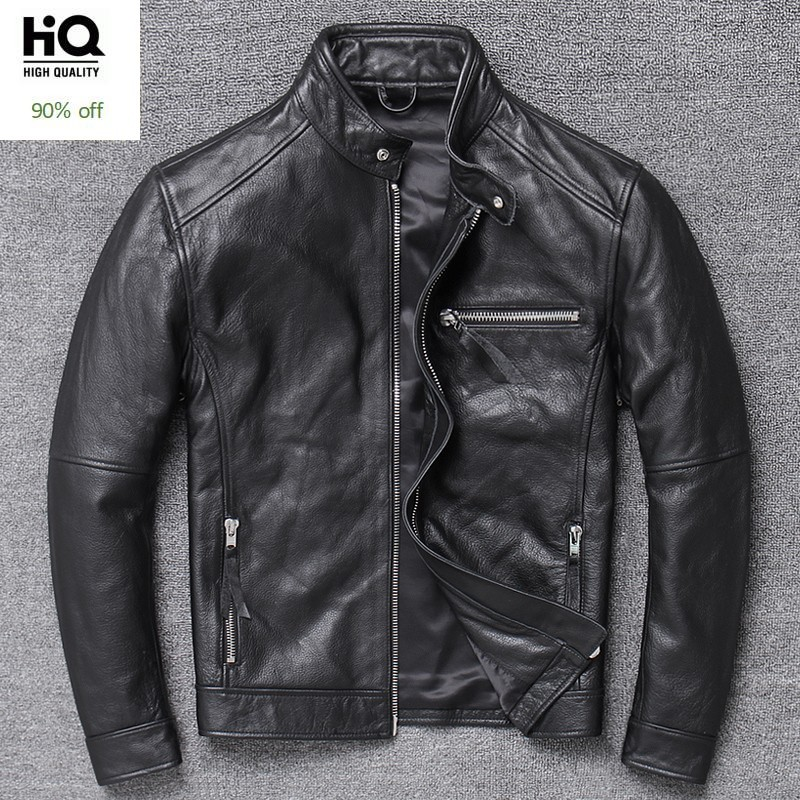 Classic Mens Luxury Cowhide Genuine Leather Jacket Motorcycle Biker Leather Coat Stand Collar Windbreaker Punk Slim Fit Jackets