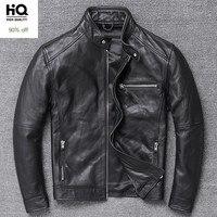 Classic Mens Luxury Cowhide Genuine Leather Jacket Motorcycle Biker Leather Coat Stand Collar Windbreaker Punk Slim Fit Jackets