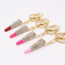 fashion Charm Crystal Keychain Lipstick Keychains Makeup Keyring Purse Bag Car Pendant Keychain gifts for women