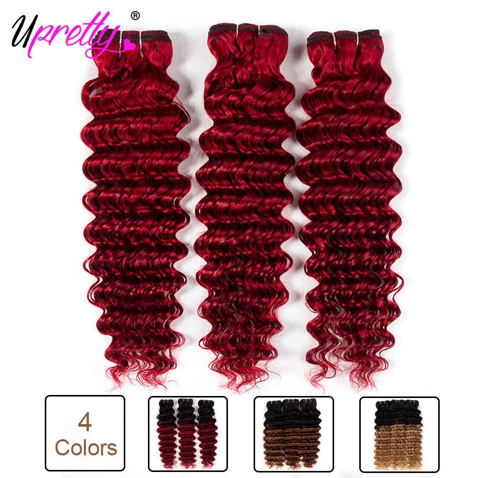 Paquetes de onda profunda de color Upretty pelo 1B 27 30 Borgoña miel Rubio cabello humano tejido Ombre brasileño Pelo Rizado profundo extensión