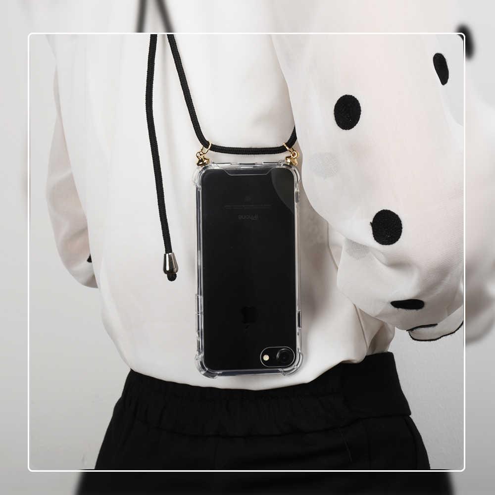 Bening TPU Ponsel Case Tali Tali Selempang Tali Disesuaikan untuk iPhone 6 7 8 6S Plus X XR X Max silikon Kembali Menutupi Case