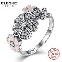 День Святого Валентина подлинный 925 пробы серебряный розовый цветок поэтическая ромашка вишневый цвет кольца для женщин оригинальные ювелирные изделия