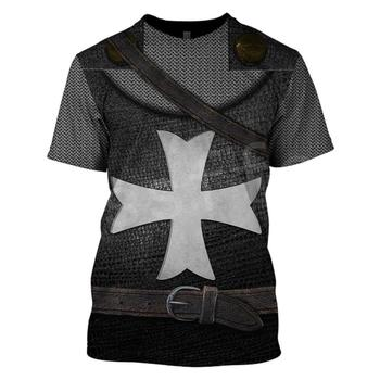 Tessffel cavalier Knights Templar Armor Costume Streetwear Harajuku Unisex 3DPrint Short Sleeve Streetwear T-shirts Men/Women C4 2