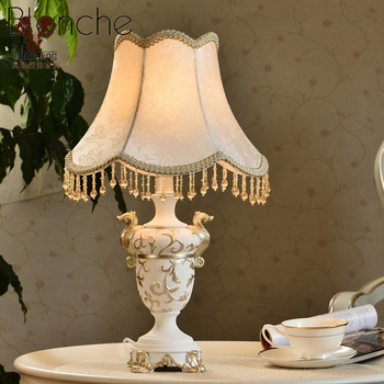 European Resin Table Lamps Silk Fabric Lampshade Desk Lights For Bedroom Bedside Living Room Home Decor Light Fixture Luminaire