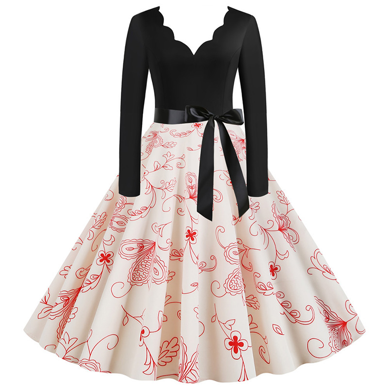 Women Long Sleeve Winter Vintage Dresses Sexy Black Music Note Print V-neck Rockabilly Pin up Party Dress Vestidos Plus size 613