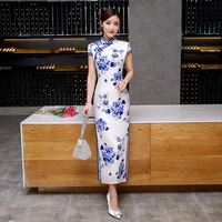 Sheng Coco Blue And White Chinese Dress Qipao Cheongsam Robe Orientale Long Modern Woman Silk Banquet Qipao Chinese Dress