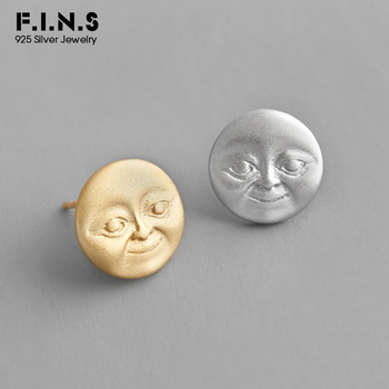 F.I.N.S Personalized S925 Sterling Silver Stud Earrings INS Vivid Moon Face Small Stud Earrings Korean Fashion Jewelry