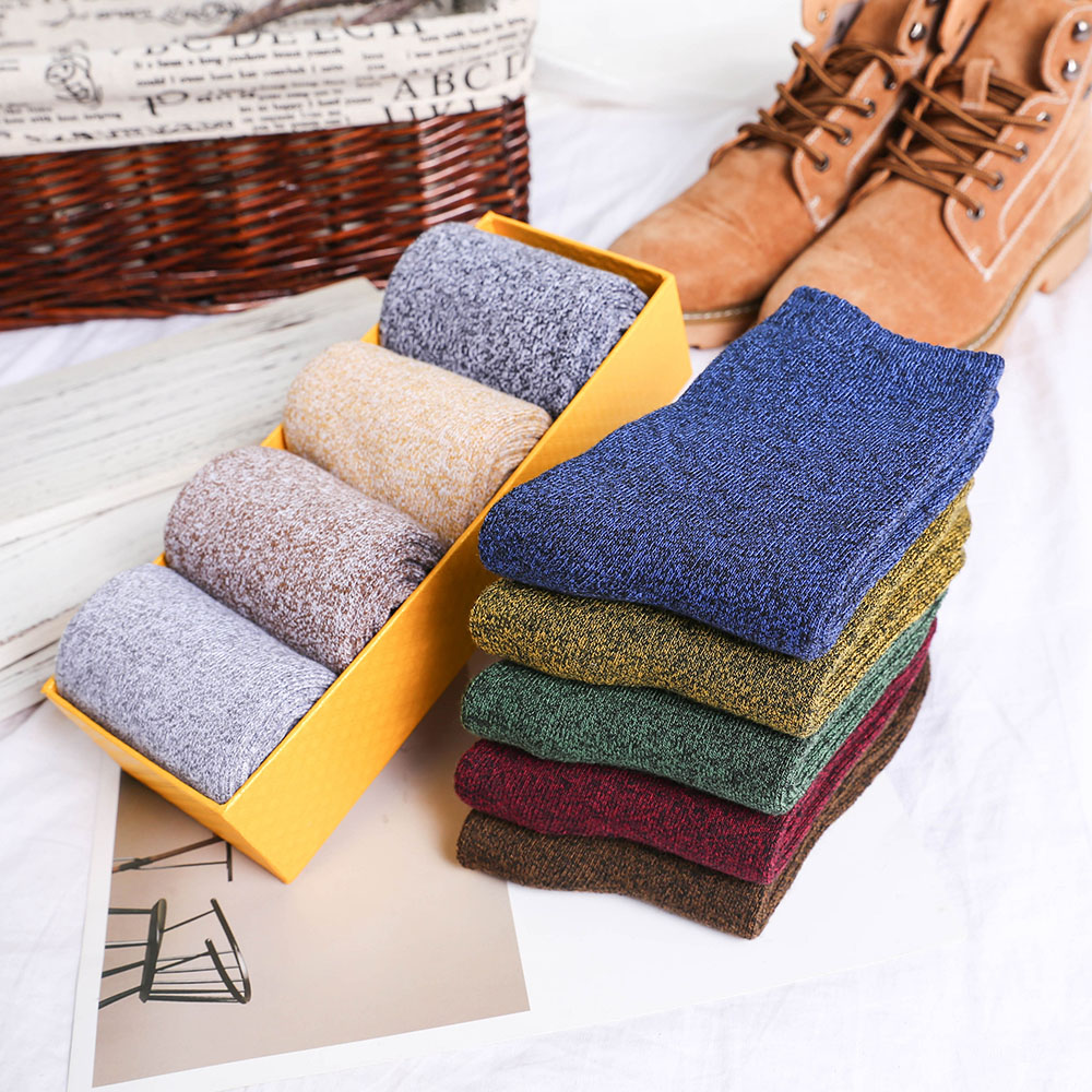 Winter Men's Cotton Padded Warm Wool Socks Harajuku High Quality Solid Color Tube Men's Casual Socks Wholesale 5 Pairs