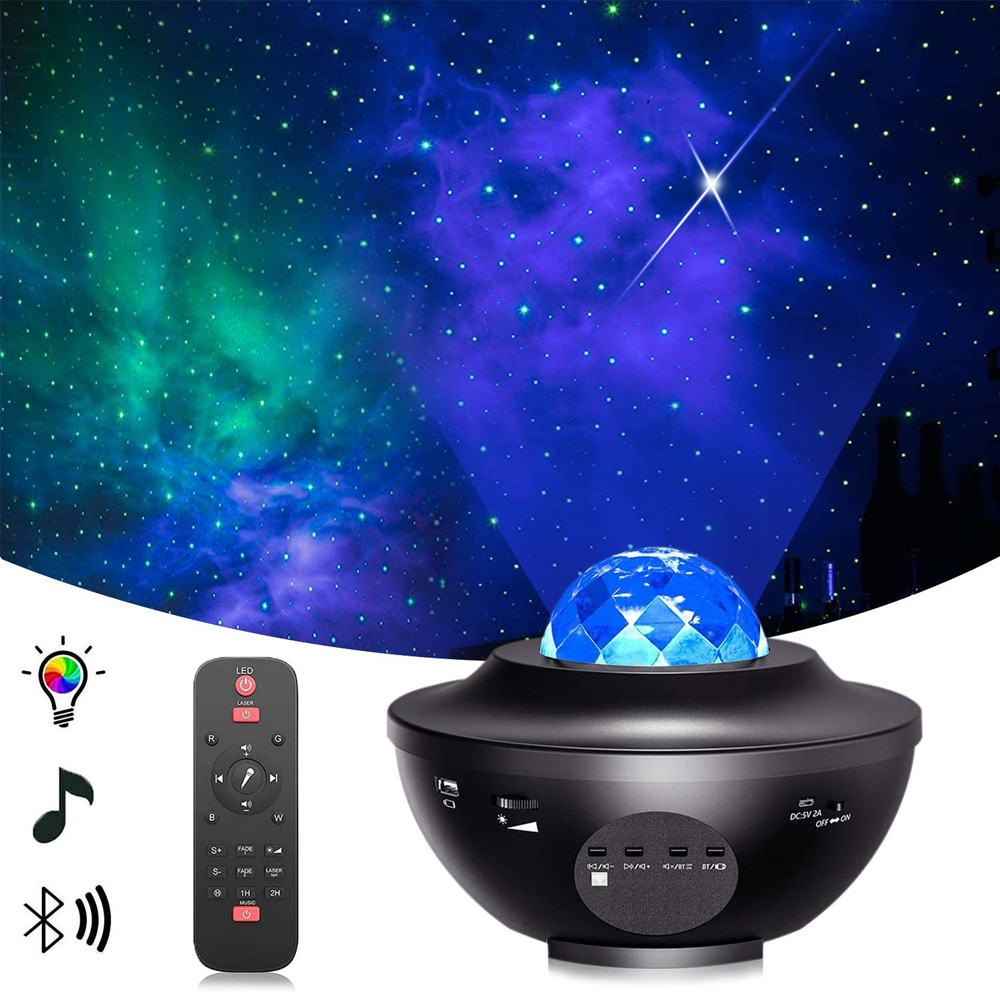 Starry Sky Projector Light with Remote Control Ocean Wave LED Star Night Lights Nebula Cloud Bluetooth Music Speaker Galaxy Lamp