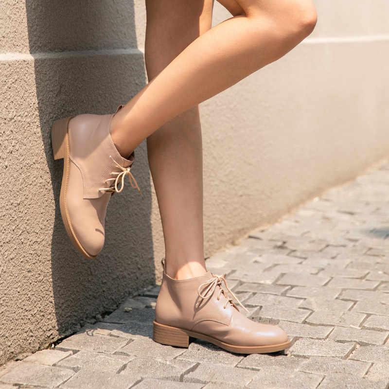 BeauToday yarım çizmeler kadın hakiki inek deri çapraz bağlı yuvarlak ayak en iyi İngiliz sonbahar kış bayan moda botları 03616