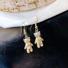 Милые серьги подвески ustar с маленьким медведем и кристаллами