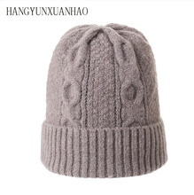 100% Wool Cashmere Knitted Beanies Thick Layer Cashmere Skullies Female Hat Knitted Warm Caps Unisex Skullies Beanie Warm Hat knitted lace up warm beanie