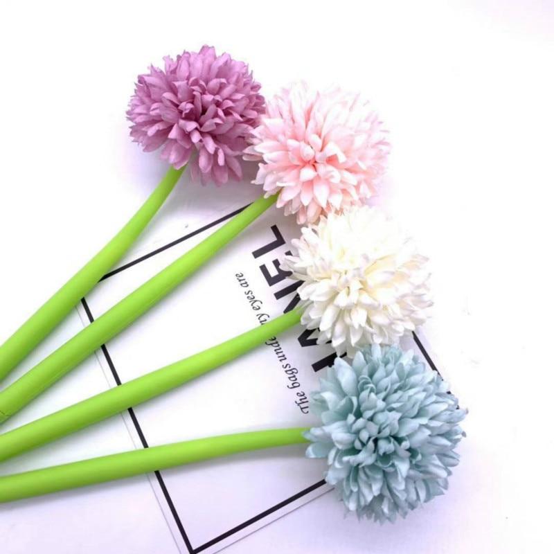 Stationery Gel Artificial Flower Signature Pen Color Chrysanthemum Gel Pens Plastic Quick-drying Pen Kawaii School Supplies