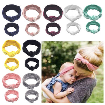 2PCS Mother Baby Daughter Kid Girl Toddler Bowknots Headband Hair Bands Parent-kid Headwear Turbans Faixa Bebe Hair Accessories