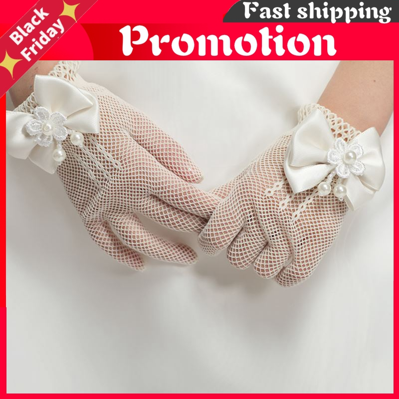 In Stock Flower Girl First Communion Gloves With Bow Pearls Tulle Special Occasion Gloves For Wedding