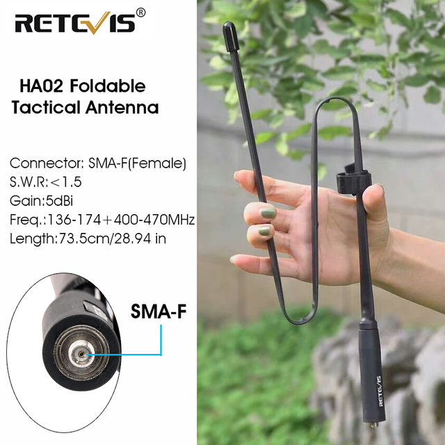 Retevis HA02 Foldable Tactical Antenna SMA F Airsoft Game Walkie Talkie Antenna For Baofeng UV 5R UV 82 Ailunce HD1 RT29 H777