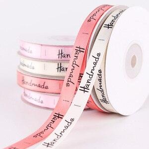 Fita de poliéster impressa artesanal, 5 jardas para festa de casamento artesanal faça você mesmo acessórios de embalagem 10mm