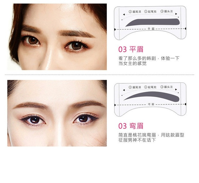 16PCS Professinal Eyebrow Template Stickers Eye Brow Eyebrow Stencils Drawing Card Stencil Card Easy Makeup Beauty Tools 1
