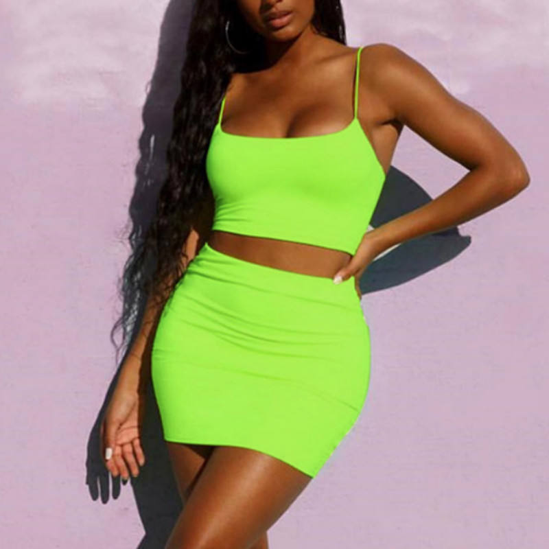 Summer 2020 Women Sexy Club Home Wear 2 Pieces Set Crop Tops + Skirt Set Outfits Women Sexy High Street Outfits Suits