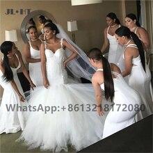 2021 Plus Size Mermaid Bridesmaid Dresses Long Straps White Wedding Party Gown Elastic Satin Women African Bridesmaid Dresses