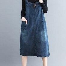 Jeans Dress Vintage Autumn Plus-Size Women Sleeveless Spring Straight Pockets Denim Loose