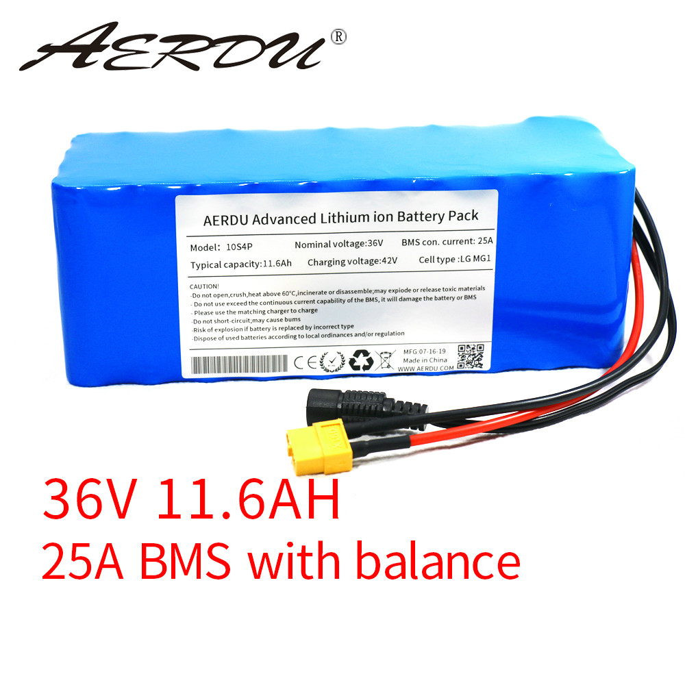 AERDU 36V 11.6Ah For LG MG1 12ah 750W 600W 500W 450W 350w 250W 37V Lithium Battery Pack Ebike Electric Car Bicycle Motor Scooter