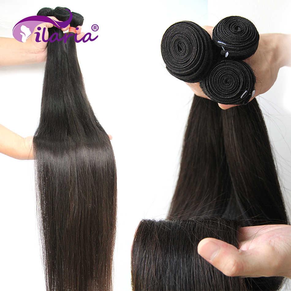 ILARIA proste włosy ludzkie wiązki z zamknięciem 100% włosy brazylijskie remy wyplata wiązki z zamknięcia koronki naturalny kolor