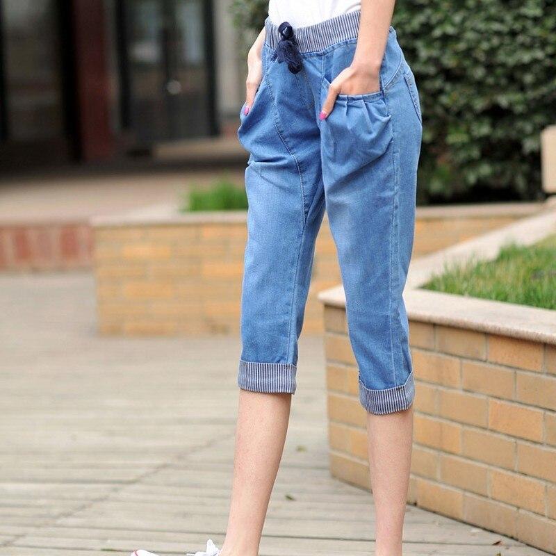 Summer Calf-Length Jeans Women Stretch Slim Fitness Casual Denim Pants Femme Plus Size Elastic Waist Comfortable Cotton Trousers
