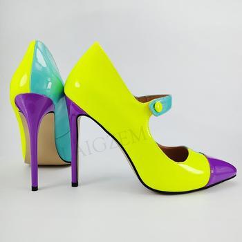LAIGZEM Super 2020 Women Mary Janes Heels Stiletto Heels Pumps Salto Shoes Ladies Pumps Zapatillas Large Shoes Woman 45 46 47