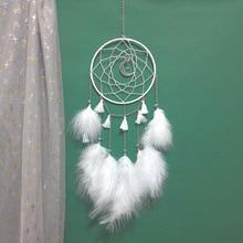Ins популярный стиль DIY Ловец снов Луна и мягкие перья хороший подарок для украшения для комнаты девочки Ловец снов розовый