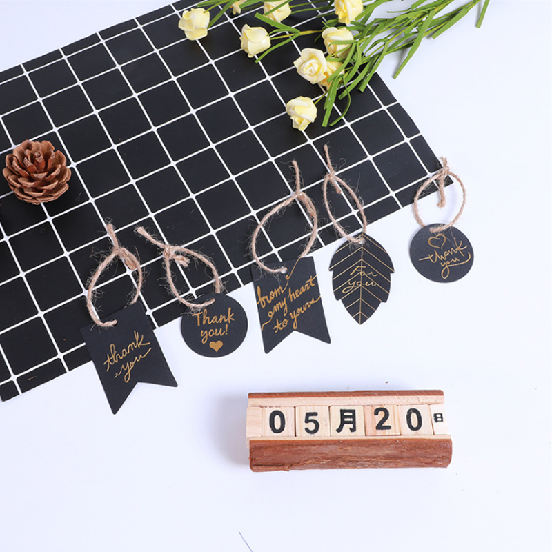 100pcs/lot Black Bronzing Thank You Handmade Kraft Gift Tags Gift Blessing Card Gift Tags For Wedding Party