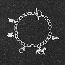 Horse Bracelet Horse Jewelry Cowgirl Cowboy Hat Charm Cowboy Boot Horse Riding Gift for Horse Lover Bangle Bracelet(China)